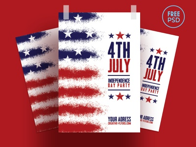 Free Flyer PSD  - Independence Day free download free stars flag posters cards celebration independence united usa american flag fireworks psd flyer party flyer psd flyer photoshop graphic design 4th of july independence day