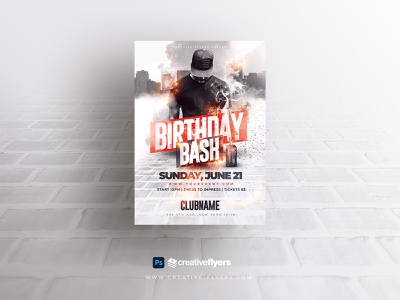 Urban Birthday Flyer Template - Adobe Photoshop bash adobe photoshop smoke effects fire city usa flag rap hip hop psd creative birthday illustration invites design party flyer poster psd flyer graphic design photoshop flyer templates