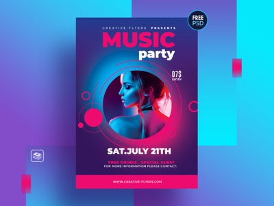 Free Flyer Psd Template - Music Party music free psd psd neon light party flyer design flyer creative graphic design photoshop nightclub invitation cards poster free download free flyer music party