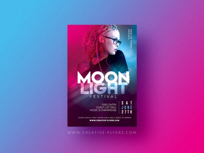 "Nightclub Flyer Template ""Moon Light Festival"" light illustrator flyer design party flyer psd poster creative psd flyer graphic design photoshop flyer templates nightclub"