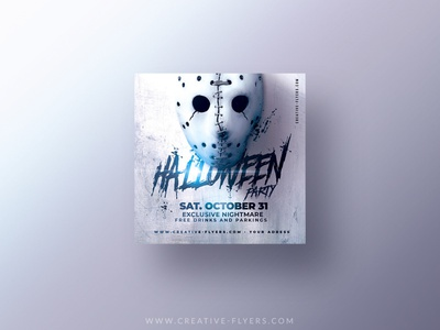 Halloween Flyer Template instragram invites design party flyer creative poster graphic design photoshop flyer templates 31 october light masquerade mask halloween