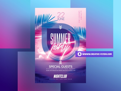Summer Party Flyer Templates posters design party flyer invitation flyer psd poster creative photoshop graphic design flyer templates summertime