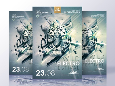 Festival Flyer Template party music club photoshop psd poster creative minimalist flyers graphic design flyer templates electro