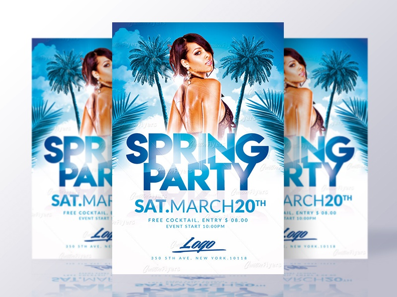 Spring Party Flyer Template creative flyers flyer psd flyer party spring break psd template flyer spring