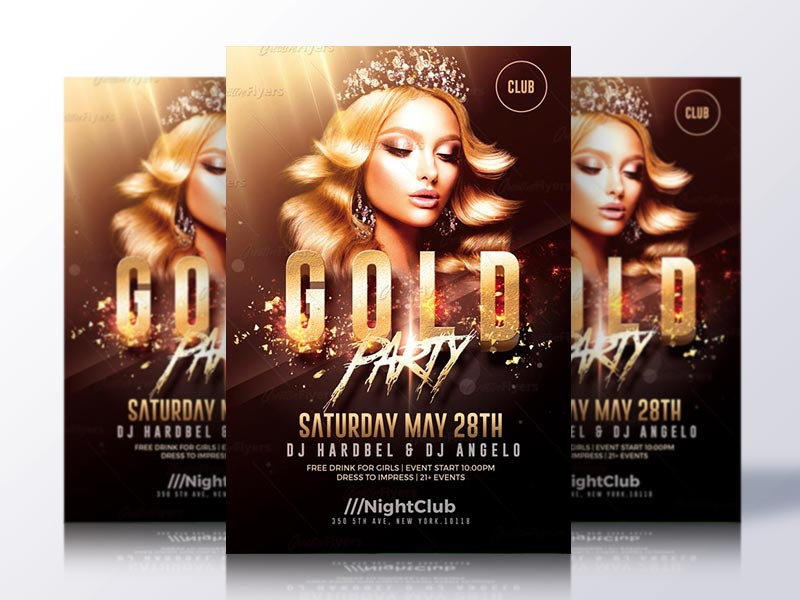 gold party flyer template by rome creation dribbble dribbble