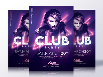 Club Party Psd Flyer Template club party creative creativeflyers design flyer graphic photoshop psd nightclub template flyer templates neon