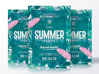 Summer Party Flyer summer flyer psd flyer invitation psd summer poster psd templates flyer templates creative flyer summer psd flyer party
