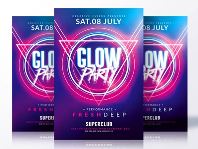 glow party flyer by rome creation dribbble dribbble