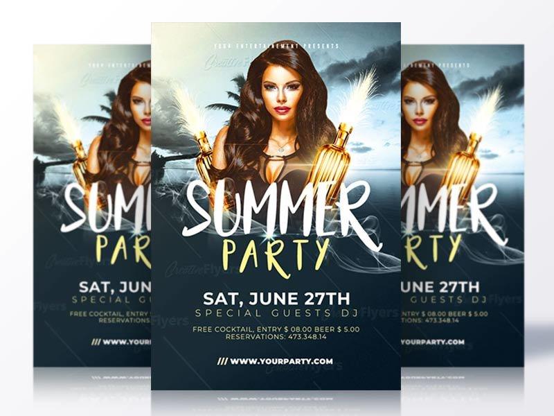 Elegant Summer Flyers summer flyer psd flyer invitation psd summer poster psd templates flyer templates creative flyer summer psd flyer party