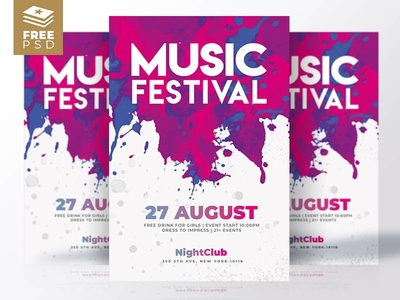 Free Flyers | Music Festival graphic design poster party music free flyer flyer templates psd templates summer poster invitation psd flyer free psd