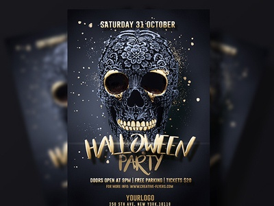 black gold halloween flyer by rome creation dribbble dribbble