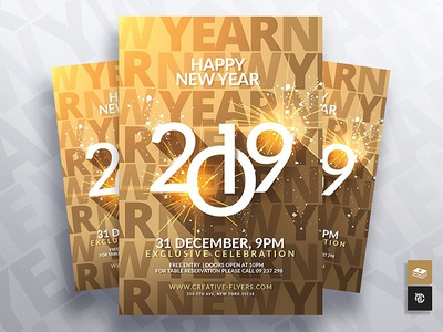 2019 New Year Flyer Template creative cards new year card dribbble happy new year advertise design flyer templates invitation invites new year 2019 2019 new year flyers new year eve graphics design graphicsdesign templates flyer party flyer psd