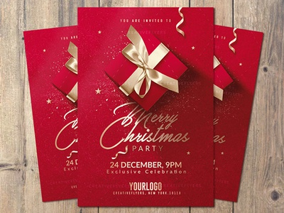 Christmas Invitation Card gift box gift invites invitation card invitation gold red christmas cards christmas flyer christmas flyers christmas card christmas party psd templates poster creative flyer psd flyer graphic design photoshop flyer templates