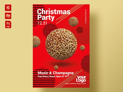 Christmas Party Flyer Template By Rome Creation Dribbble Dribbble