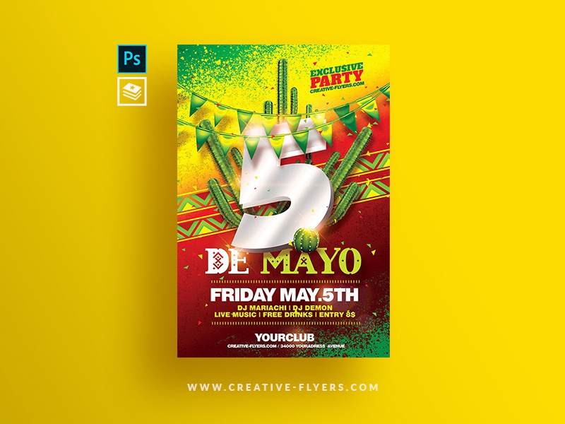 Cinco De Mayo Flyer Template advertising seasonal png music mexico national day 5 may 5 de mayo mexican flyer party flyer psd poster psd flyer photoshop graphic design flyer templates cinco de mayo