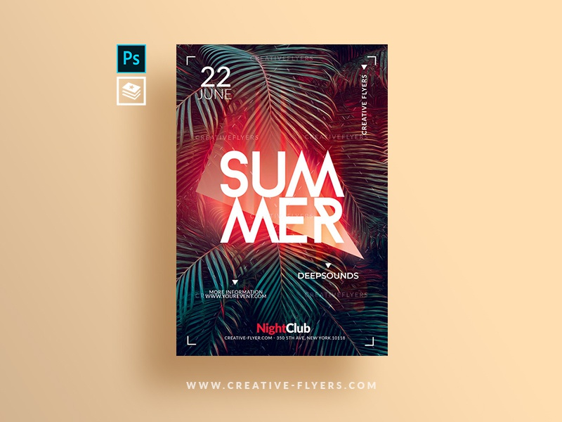 Summer Flyer Template holiday invitation spring pool party beach party flyer photoshop poster psd flyer flyer templates graphic design poster art summer psd light tropical party tropical summer flyer template
