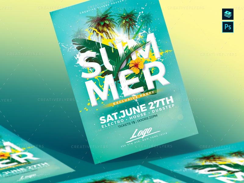 Summer Fllyer Psd print printshop flower palms psd design invites invitation beach party creative design party flyer psd flyer graphic design photoshop flyer templates summer fllyer psd