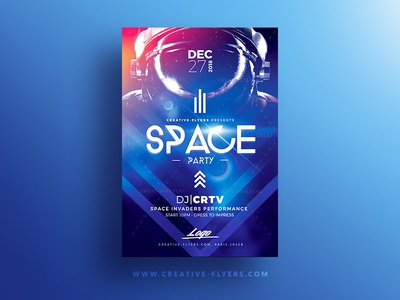 Space Party Flyer Psd