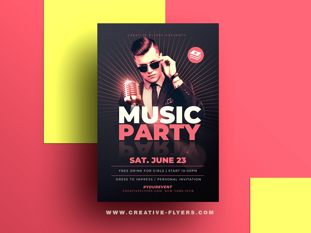 Music Party Psd Flyer Template microphone music party live singer blues jazz invites invitation cards vintage concert flyer concert retro illustration photoshop psd graphic design creative photoshop psd flyer flyer templates