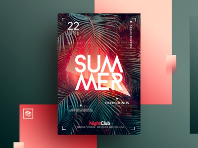 Summer Psd Flyer club bar beach invitation card photoshop cards invites invitations party lights leaves tropical palm templates posters graphics psd design illustration summer