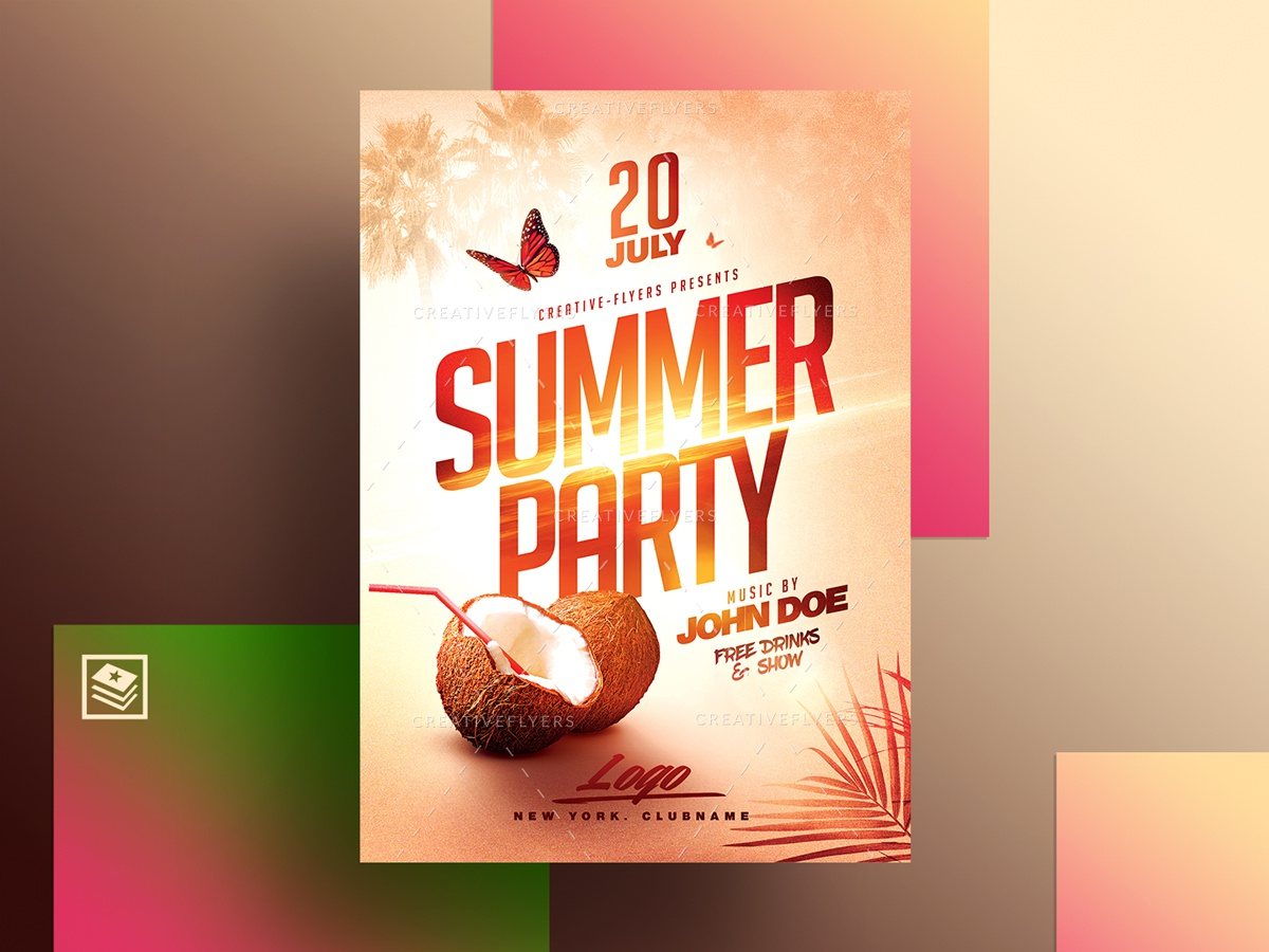 Summer Poster Psd printable prints design graphics affiche psd poster creative photoshop templates flyers party flyer tropical coconut palms sea party hat sunset beach summer