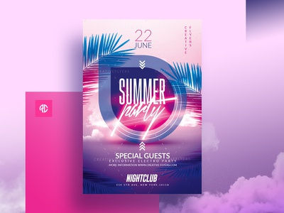 Summer Party Flyer Template printable print design illustration summer psd summer card invitations advertising beach party cards invites sunset neon light palms summer graphics party flyer creative graphic design photoshop summer party flyer