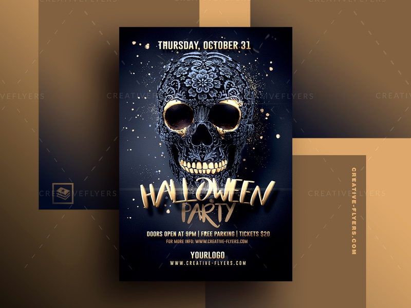 Halloween Party Flyer Template october black and gold skull card design halloween graphics halloween design halloween party halloween bash halloween cards invites invitation poster psd design party flyer psd flyer graphic design photoshop flyer templates