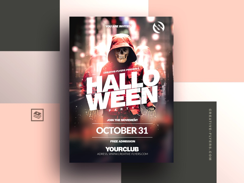 Halloween Flyer Template night club streetwear nightlife nightclub october cards cards design halloween bash invites invitation illustration party flyer poster creative photoshop graphic design flyer templates halloween party halloween flyer halloween