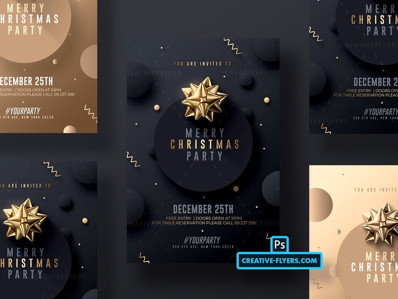 Merry Christmas Invitation elegant invitations merry christmas champagne black and gold gold ribbons xpas party xmas poster invitation flyer templates psd illustration flyer design graphic design photoshop psd flyer invites invitations christmas card