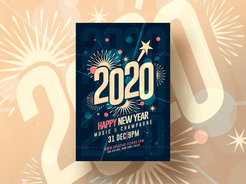 Happy New year Flyer Template flyer templates graphic design music happy psd flyer adobe photoshop photoshop cards invitation invites new year party new years newyears newyear nye 2020 new year