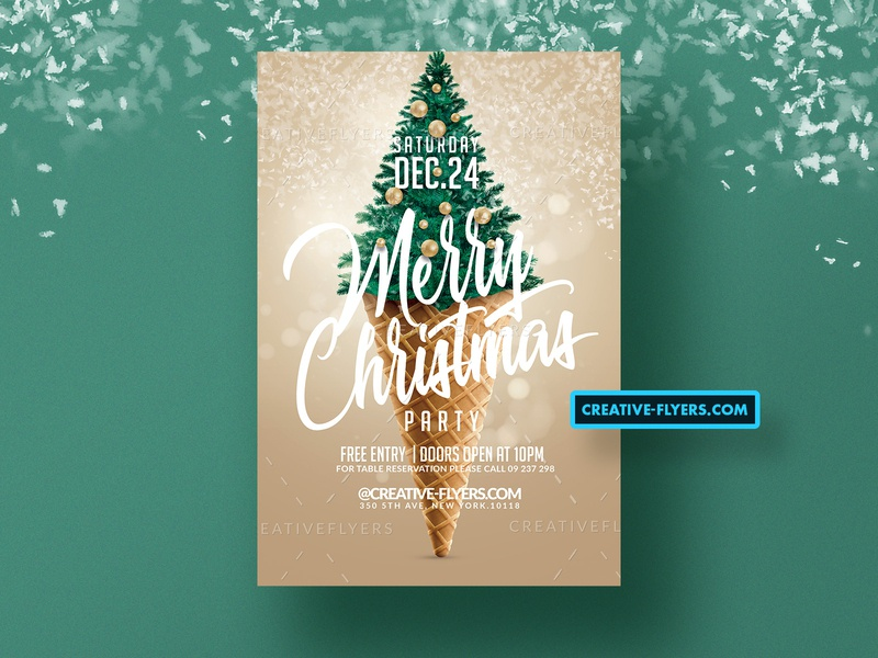 Merry Christmas Flyer PSD invitations snow flakes christmas balls snow winter christmas tree cone graphics xmas invites design party flyer psd poster psd flyer graphic design photoshop flyer templates christmas party merry christmas