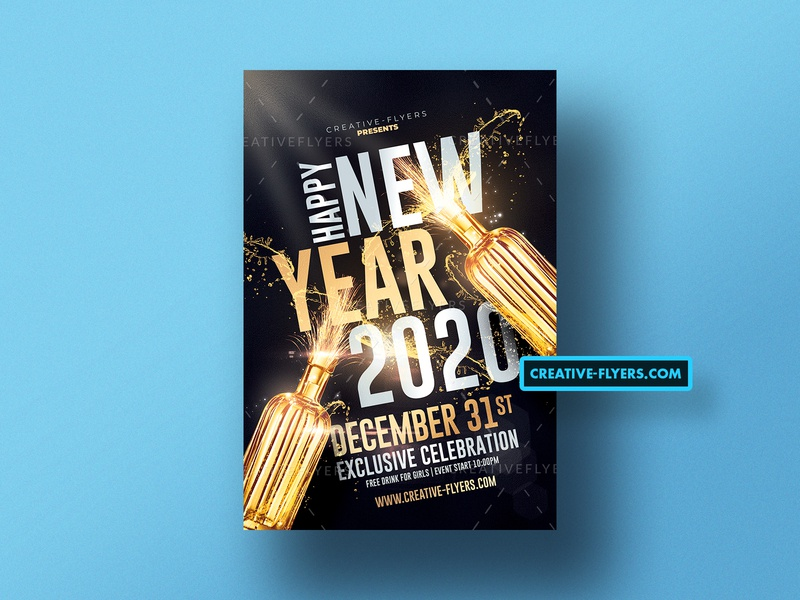 Happy New Year Flyer Template printable print cards postcards happy new year black and gold gold nye2020 nye invitation flyer psd illustration invites design party flyer graphicdesign new year photoshop flyer templates