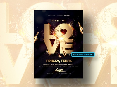 Valentines Day Flyer Templates black and gold party flyer invites valentines day creative psd flyer flyer templates photoshop graphicsdesign lovers love valentinesday valentine