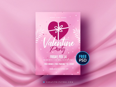 Valentines Day | Free Flyer PSD invites adobe photoshop photoshop graphic design flyer psd free download free flyer free psd pink love cards valentinesday valentine day flyer templates valentine