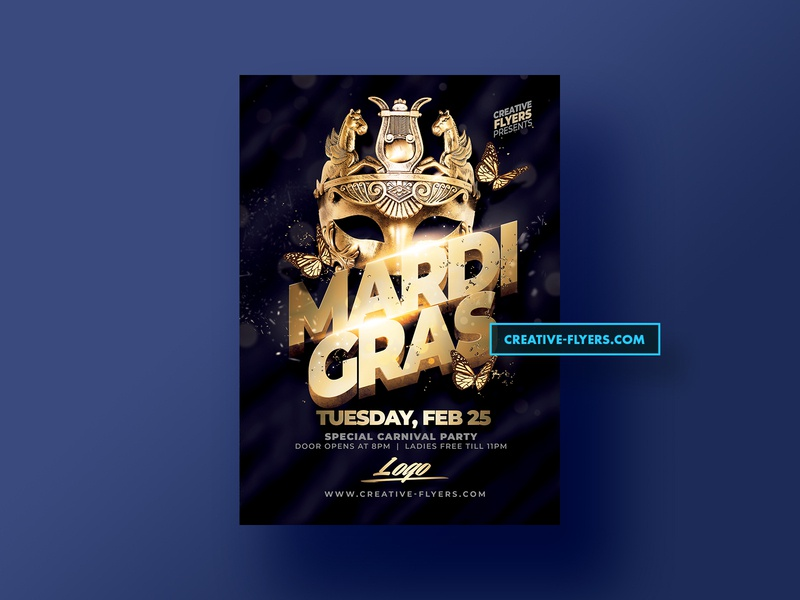 Mardi gras Flyer Template graphic design invitations creative venetian mardi gras masquerade mask gold template poster nightclub party flyer event download digital