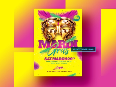 Mardi Gras Flyer Template. Photoshop adobe creativeflyers gradient colorful mardi gras party mardi gras flyer carnival mardi gras invites design party flyer psd poster creative psd flyer graphic design photoshop flyer templates