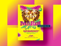 Mardi Gras Flyer Template. Photoshop