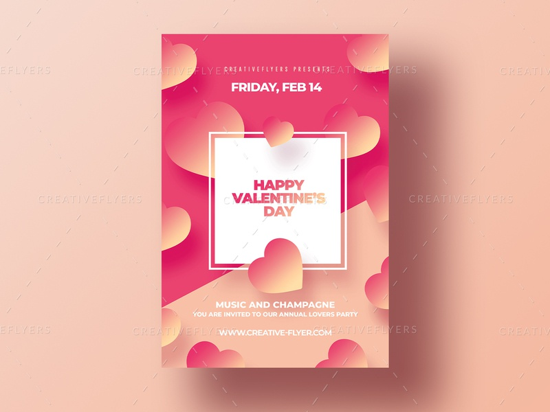 Valentines Day Invitation Cards psd love cards flyer illustration party flyer creative invitations cards ui valentines day graphic design photoshop flyer templates valentines
