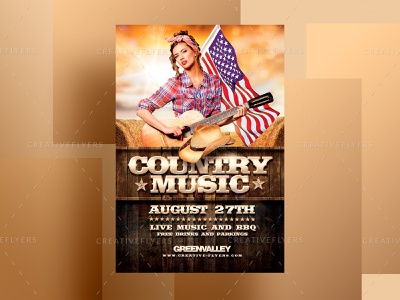 Country Music Flyer Template adobe bbq american music flyer country club countryside flyer invites design party flyer psd poster creative psd flyer graphic design photoshop flyer templates