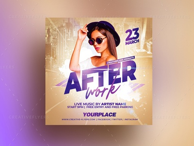 After Work Flyer Template easter spring urban invites lounge bar club party party flyer flyers square poster creative purple photoshop graphic design art flyer templates after work