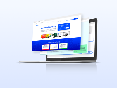 Website Mockup - Digital Marketing Agency saas marketing fintech tech startup contemporary postmodern sleek modern colorful ux ui website agency digital circuitry blue
