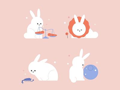 Horoscope Bunnies minna parikka scorpio pisces libra leo illustration helsinki animation aftereffects