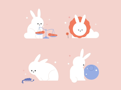 Horoscope Bunnies minna parikka scorpio pisces libra leo illustration helsinki animation aftereffects