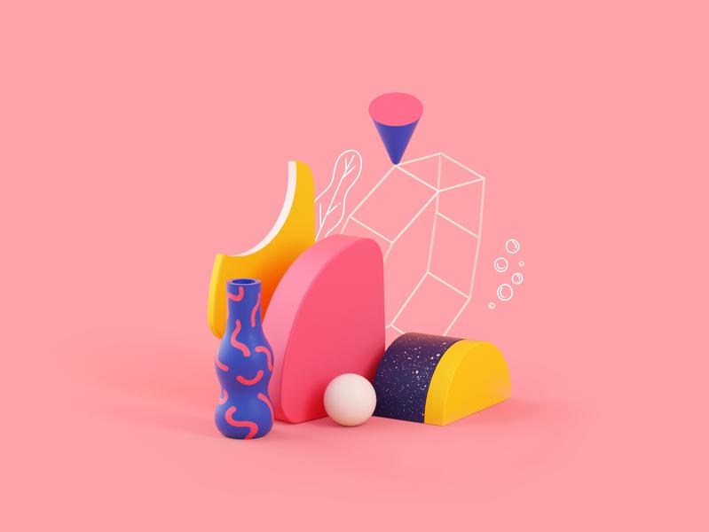 Fauna shapes design cinema4d illustration c4d