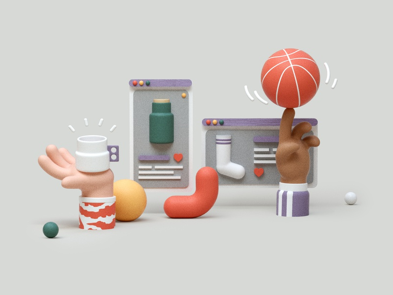 Pottery and sports shop shopping shop online store basketball pottery ecommerce design editorial cinema4d illustration c4d