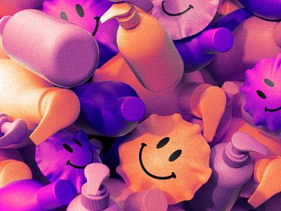 Wash your hands! acid smiley 3d virus gel soap editorial illustration c4d