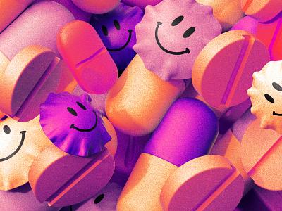 Pills pills pills! virus acid drugs pills 3d editorial illustration c4d