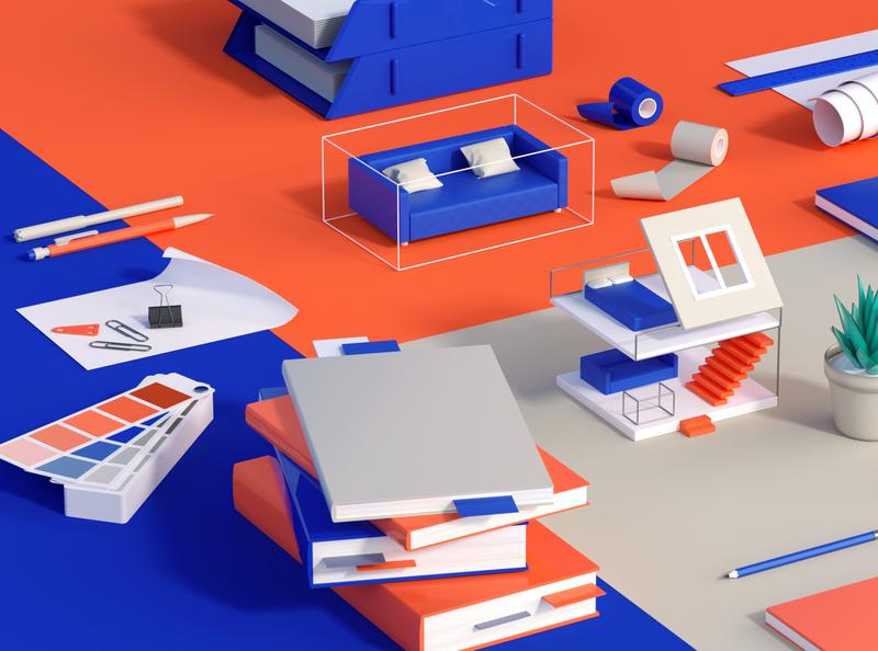 Stationery organize folder stationery desk architechture illustration c4d