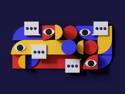 Opinions eyes conversation voices opinions design editorial redshift cinema4d illustration c4d