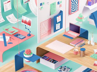 Vital mag interior illustration cgi c4d study room student